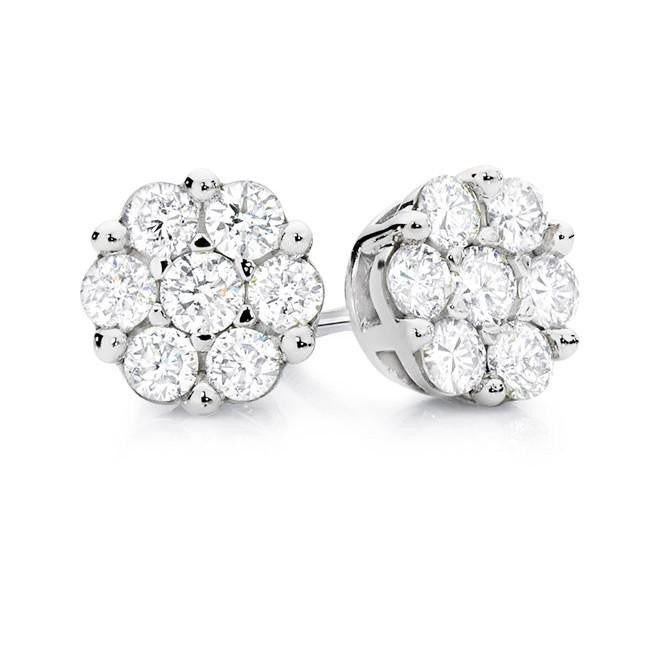 1/2 Carat Diamond Flower Cluster Stud Earrings in 10K White Gold