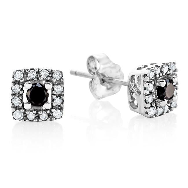 0.25 Carat Black & White Diamond Square Stud Earrings in 10K White Gold