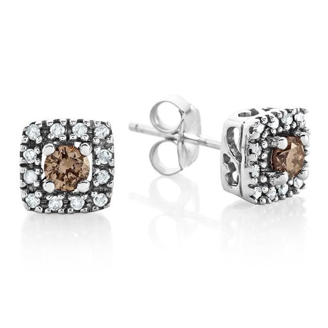 0.25 Carat Champagne & White Diamond Square Stud Earrings in 10K White Gold