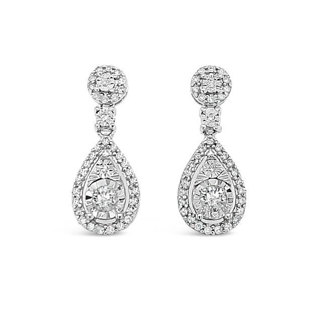 1/3 Carat Diamond Miracle Set Drop Earrings in 10K White Gold