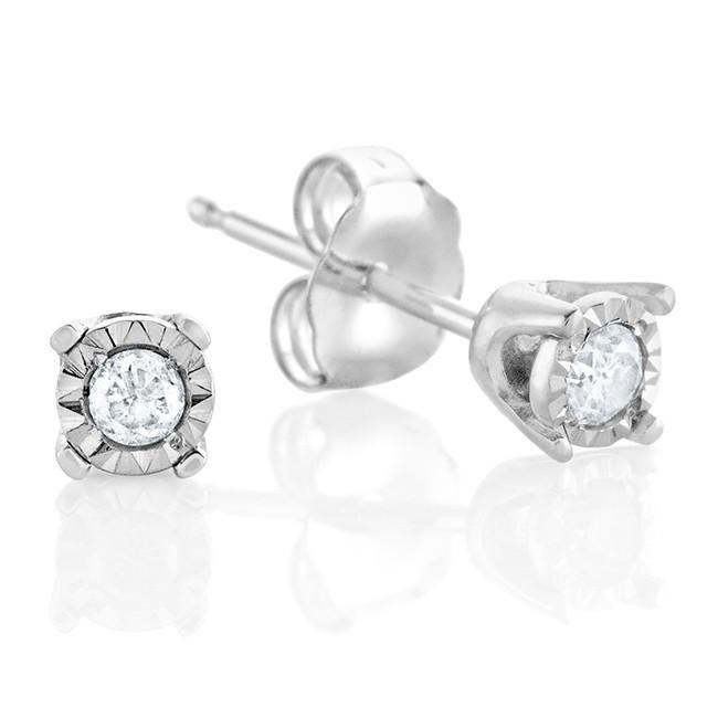 10K White Gold  Diamond Stud Earrings with Miracle Setting