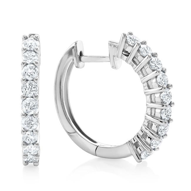 1.10 Carat Diamond Hoop Earrings in 10k White Gold