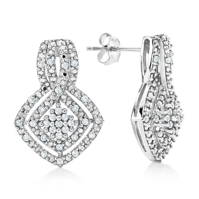 1/2 Carat Diamond Earrings in 10K White Gold