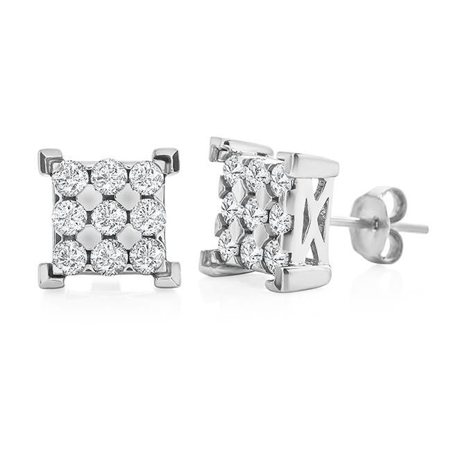 1.00 Carat Square Diamond Stud Earrings in 10K White Gold