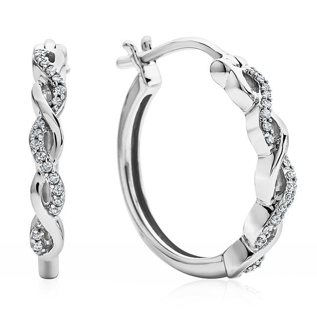 1/10 Carat Diamond Infinity Earrings in 10K White Gold