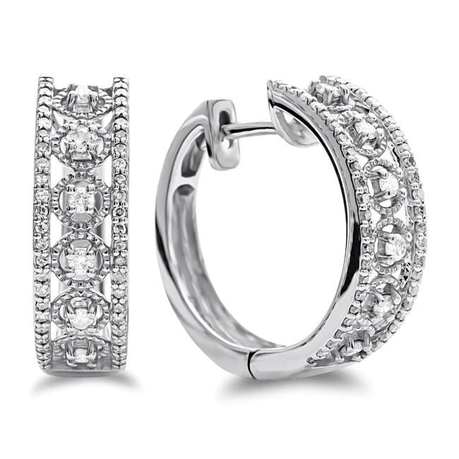 1/2 Carat Diamond Fancy Hoop Earrings in 10K White Gold
