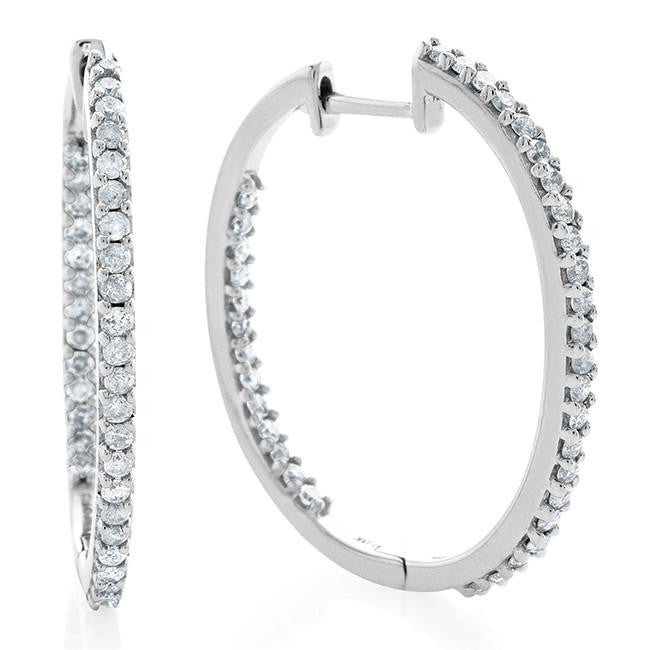0.50 Carat Diamond Inside-Out Hoop Earrings in Sterling Silver