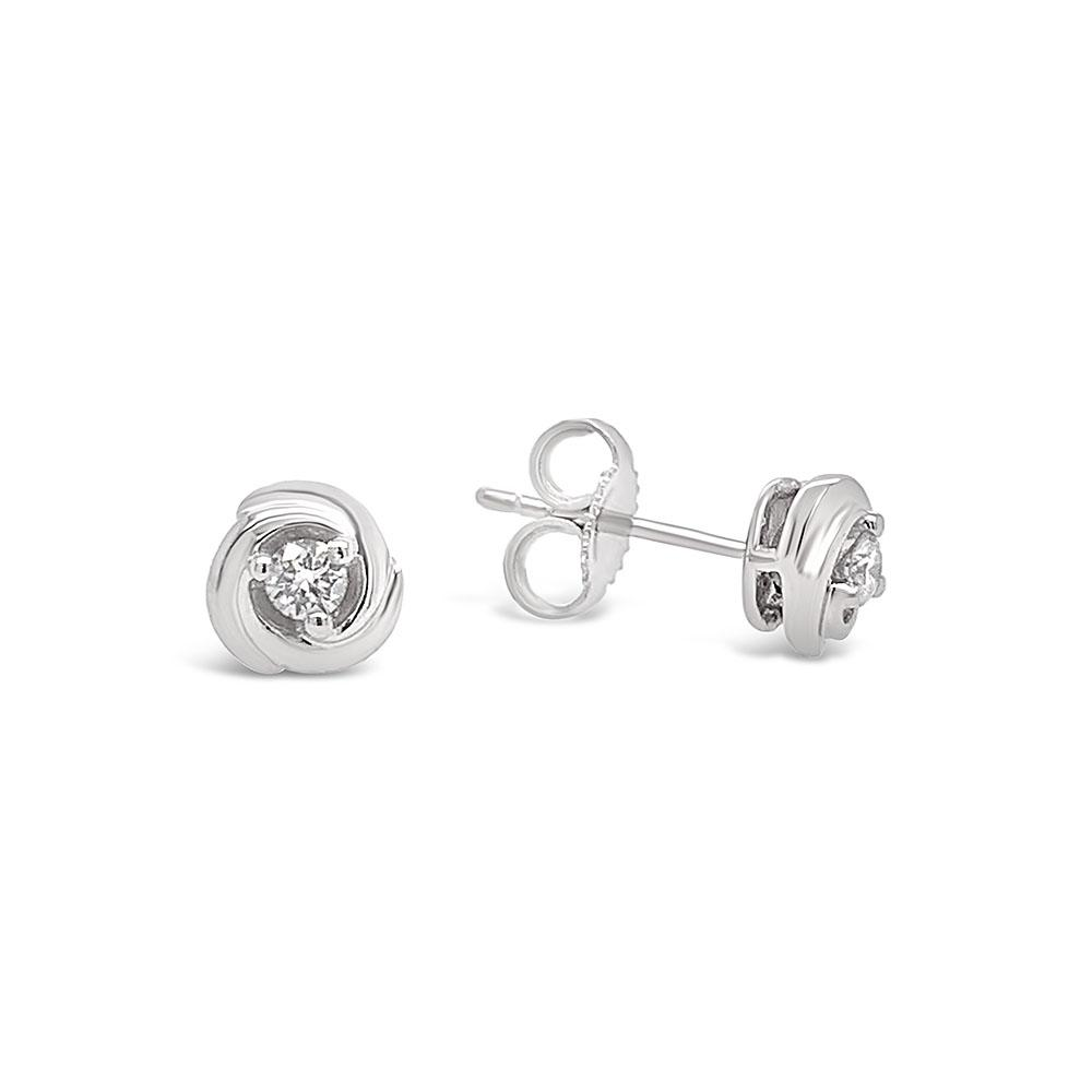 1/10 Carat Diamond Knot Earrings in 10K White Gold