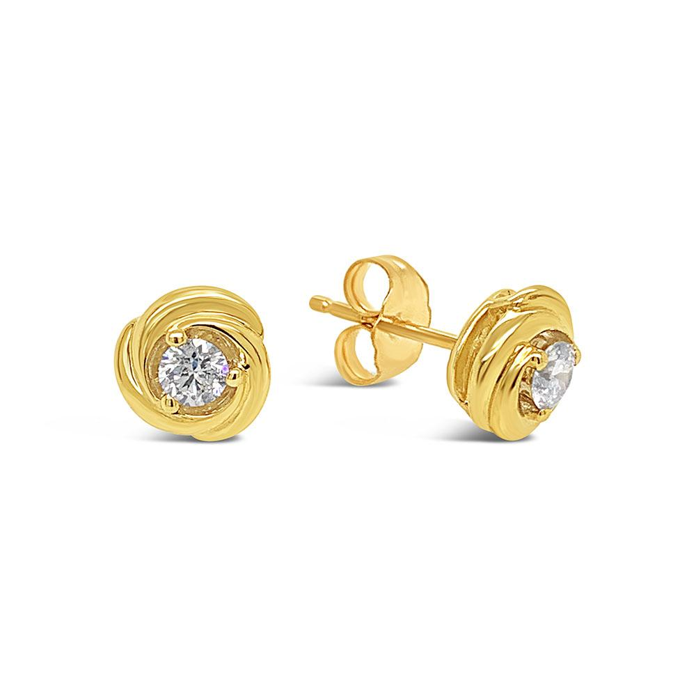 1/4 Carat Diamond Knot Earrings in 10K Yellow Gold