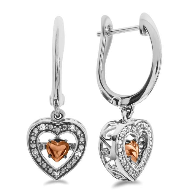 Diamond Accent Dancing Heart Earrings in Two Tone Sterling Silver