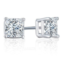 Load image into Gallery viewer, 1/3 Carat Princess-Cut Diamond Stud Earrings in 14K White Gold (H-I,I2)