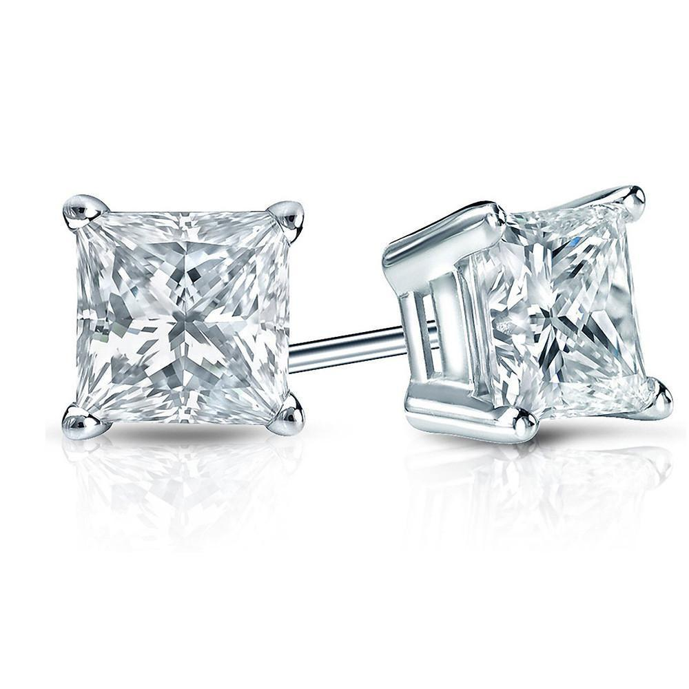 3/4 Carat Princess cut Diamond Stud Earrings in 14K White Gold (H-I,I2-I3)