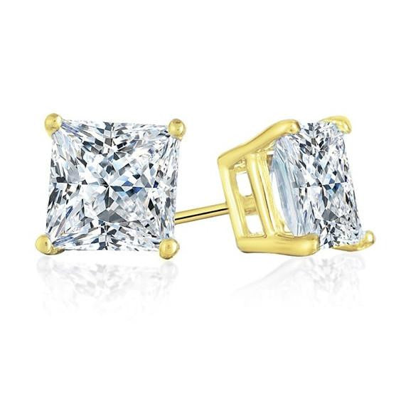 1.00 Carat Princess-cut Diamond Stud Earrings in 14K Yellow Gold