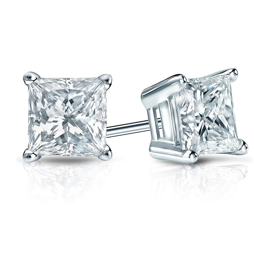14K White Gold 1.25 Carat Princess-cut Diamond Stud Earrings