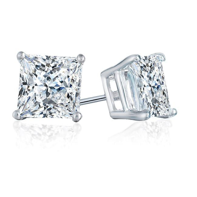 14K White Gold 1.50 Carat Princess-cut Diamond 4-Prong Stud Earrings