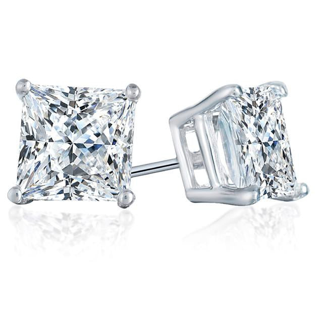 2.00 Carat Round Diamond Stud Earrings in 14K White Gold 4-Prong Basket Settings
