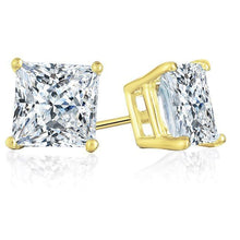 Load image into Gallery viewer, 3/4 Carat Princess-Cut Diamond Stud Earrings in 14K Yellow Gold (H-I,I2)
