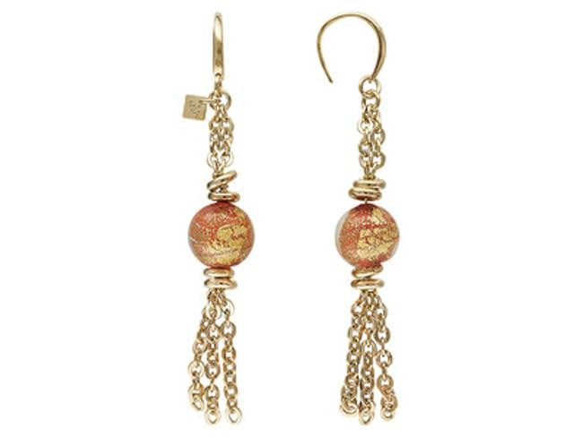 Mia By Netaya: Orange Murano Glass Bead 18K Yellow Gold Over Bronze Tassle Earrings