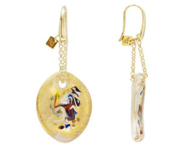Mia By Netaya: Multicolor Murano Glass Bead 18K Yellow Gold Over Bronze Earrings
