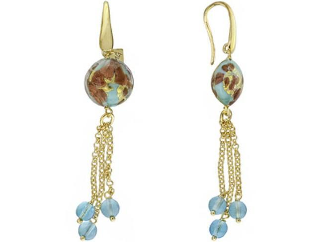 Mia By Netaya: Round Multicolor Murano Glass Bead 18K Yellow Gold Over Bronze Earrings