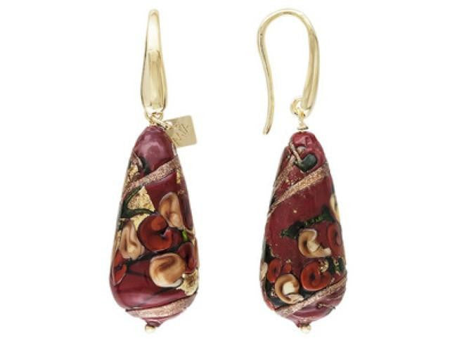 Mia By Netaya: Multicolor Red Murano Glass Bead 18K Yellow Gold Over Bronze Earrings