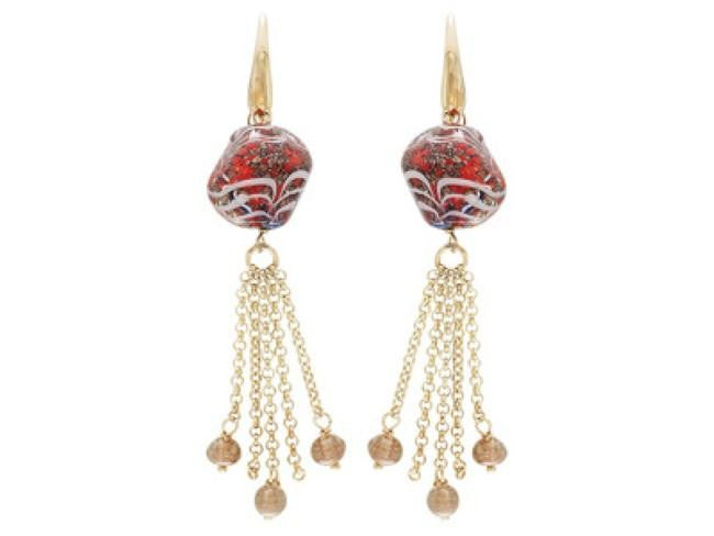 Mia By Netaya: Multicolor Murano Glass Beads 18K Yellow Gold Over Bronze Tassle Earrings