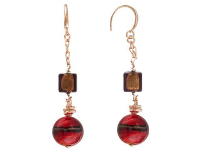 Mia By Netaya: Multicolor Murano Glass Bead 18K Rose Gold Over Bronze Earrings