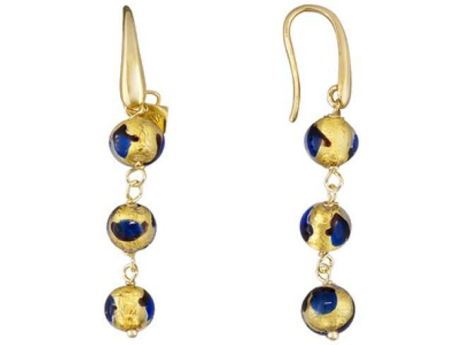 Mia By Netaya: Multicolor Murano Glass Bead 18K Yellow Gold Over Bronze Dangle Earrings
