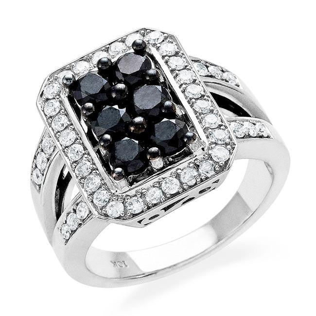 1.50 Carat Black & White Diamond Ring in 10k White Gold