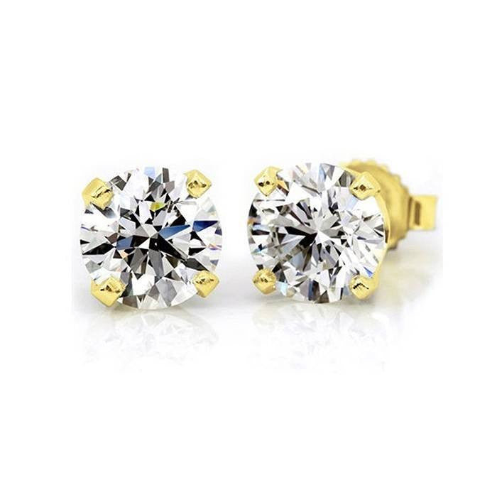 1/3ctw Round Diamond 4-Prong Stud Earrings in 14K Yellow Gold (H-I,I2)