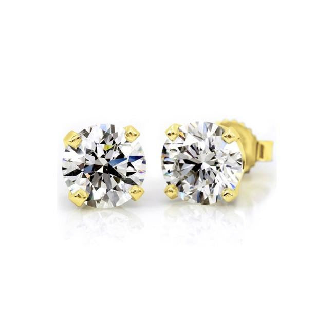 14K Yellow Gold 1/2 Carat Round Diamond 4-Prong Stud Earrings