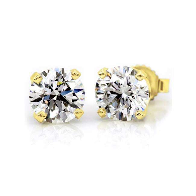 14K Yellow Gold 1.00 Carat Round Diamond 4-Prong Stud Earrings