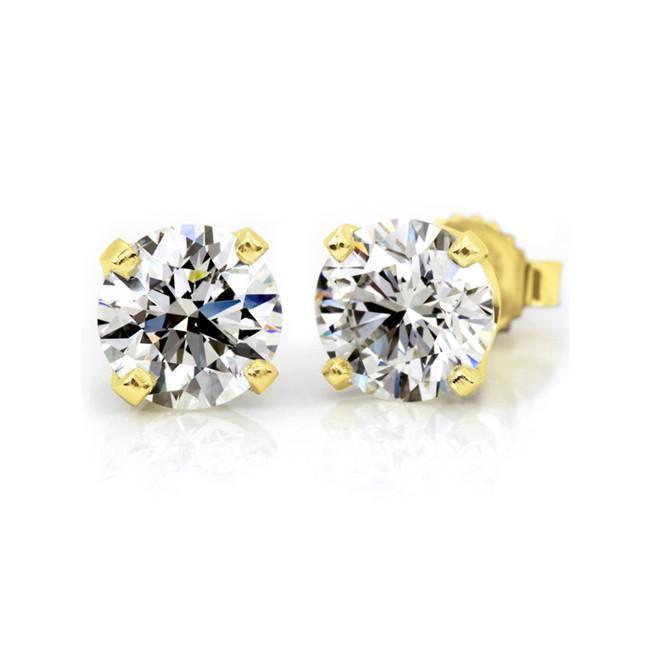 1.00 Carat Round Diamond 4-Prong Stud Earrings in 14K Yellow Gold (G-H;SI2-I1)