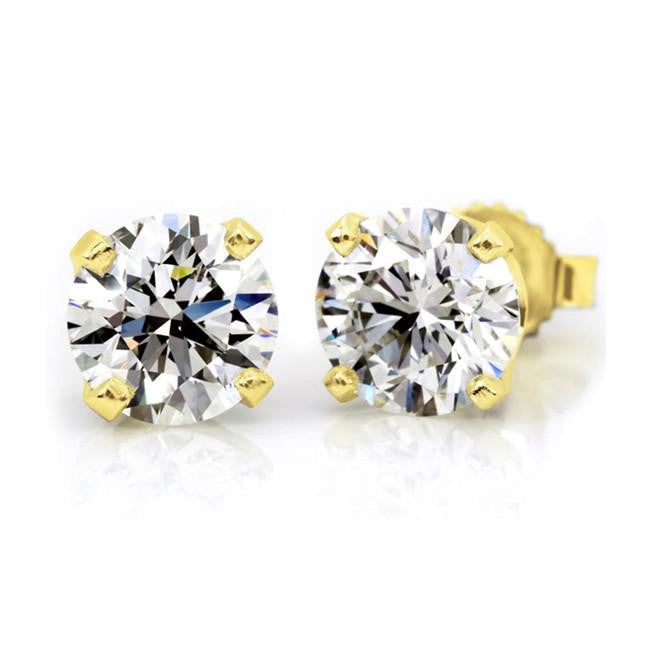 14K Yellow Gold 1.50 Carat Round Diamond 4-Prong Stud Earrings