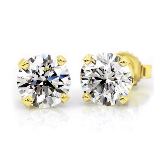 1.00 Carat tw Round Diamond Stud Earrings in 14K Yellow Gold (H-I,I2)
