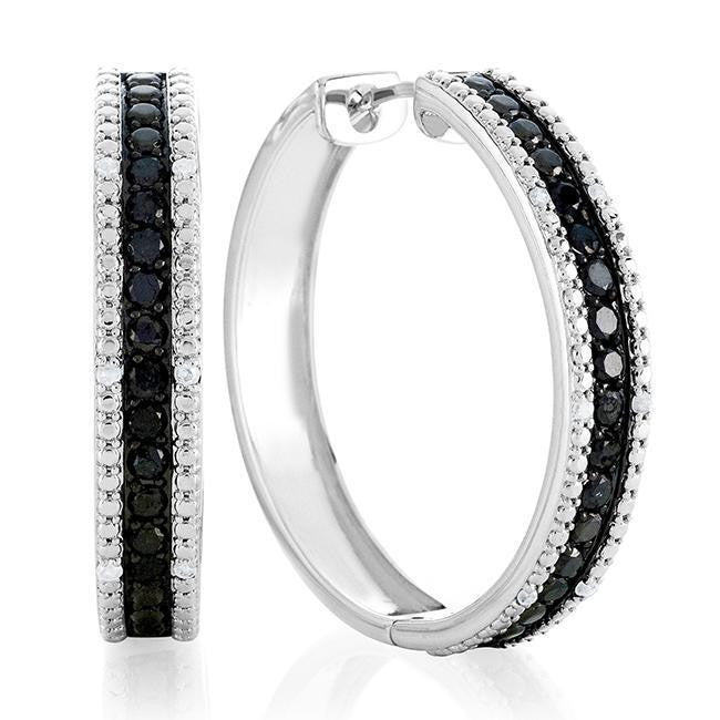 1.50 Carat Black and White Diamond Hoop Earrings