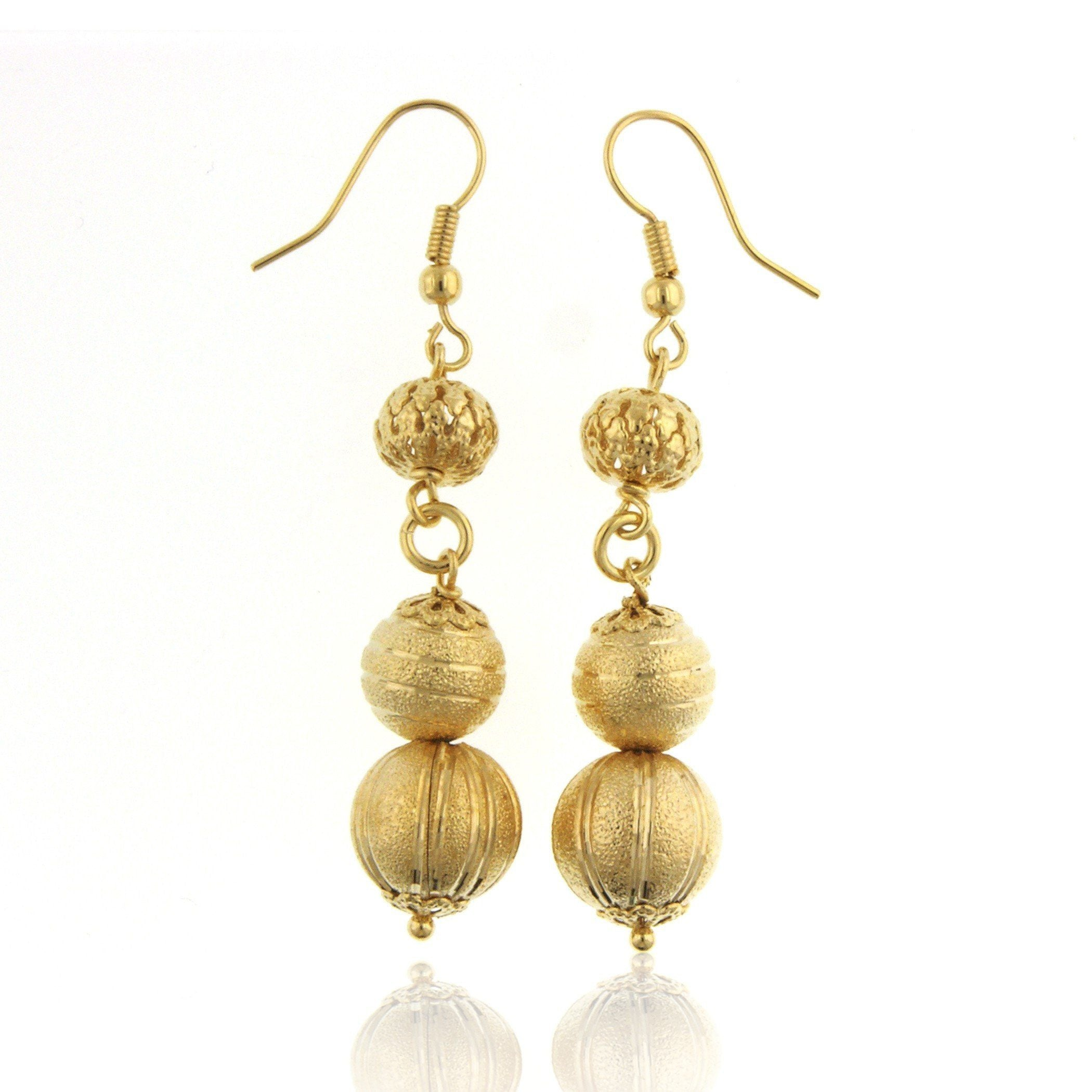 Grazie Italiana Collection: Gold-Plated Bronze Frosted Three-Bead Earrings