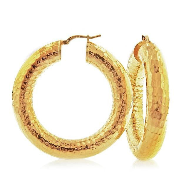 Grazie Italiana Collection: Gold-Plated Bronze Large Hammered Hoop Earrings