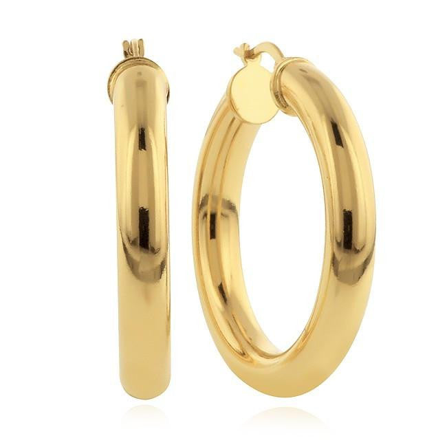 Grazie Italiana Collection: Gold-Plated Bronze Medium Hoop Earrings