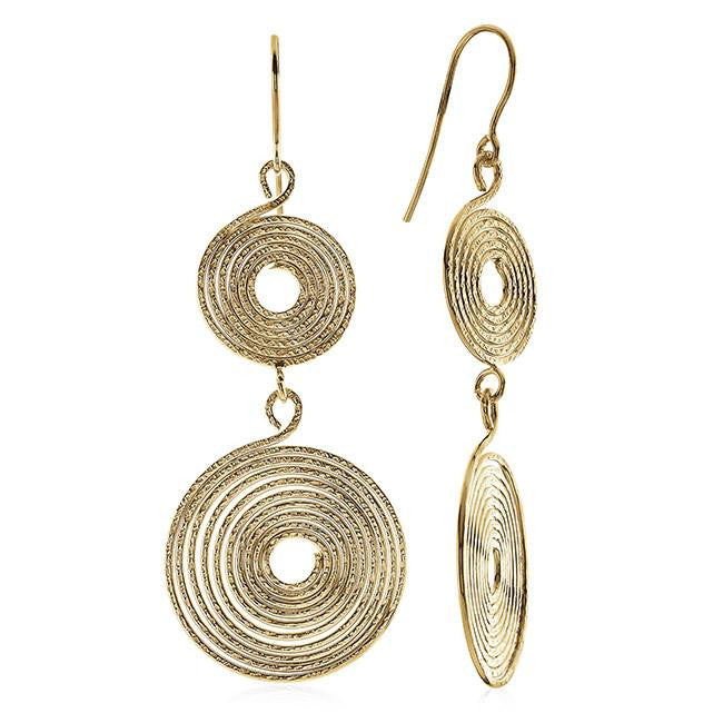 Grazie Italiana Collection: Gold-Plated Bronze Spiral Dangle Earrings