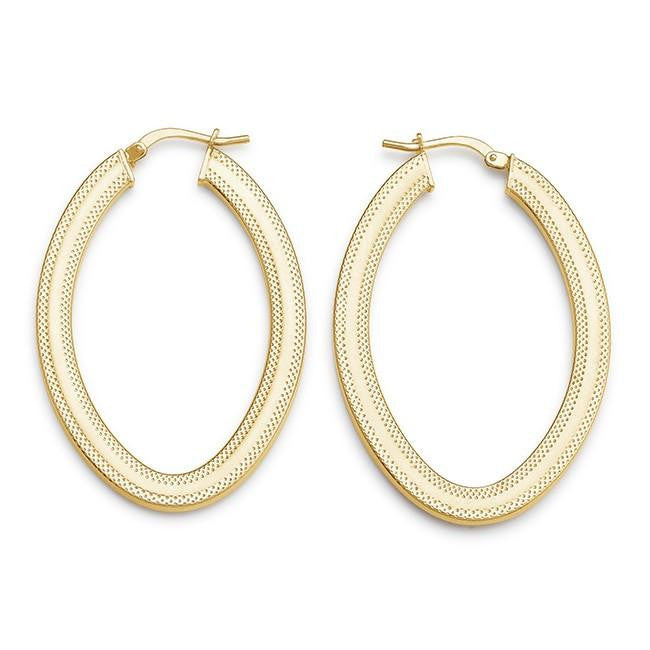 Grazie Italiana Collection: Gold-Plated Bronze Oval Hoop Earrings
