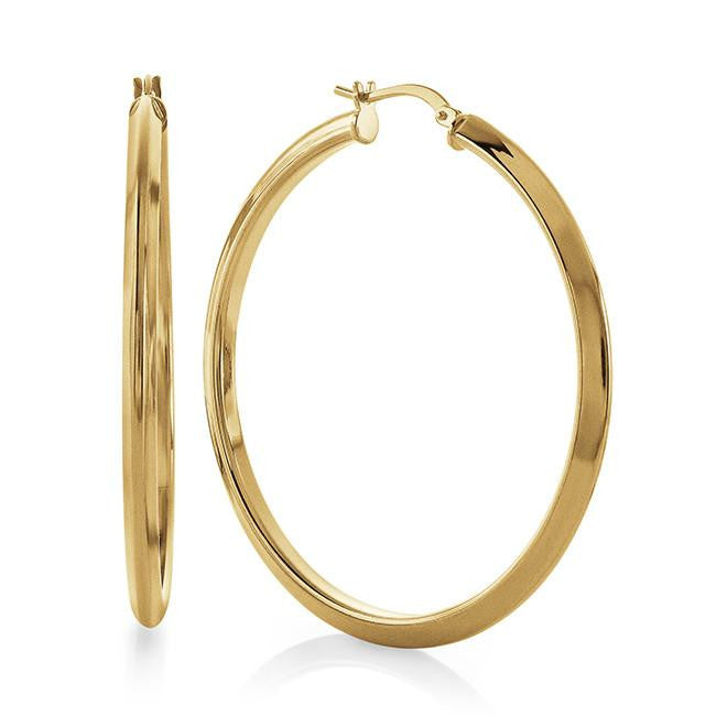 Grazie Italiana Collection: Knife Edge Hoop Earrings in Gold Plated Bronze