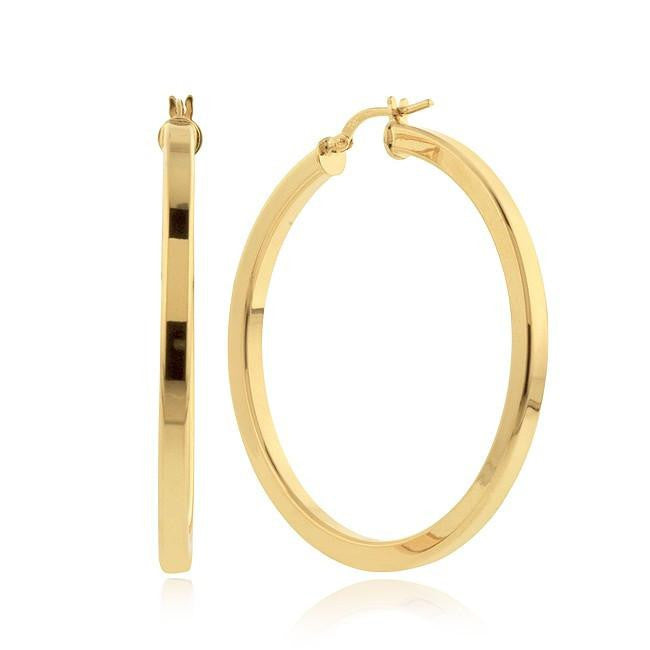 Grazie Italiana Collection: Gold-Plated Bronze Square Tube Large Hoop Earrings