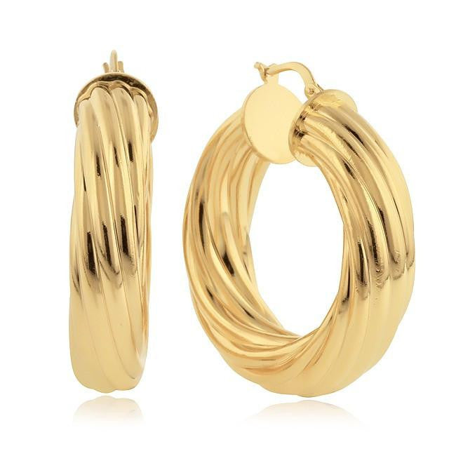 Grazie Italiana Collection: Gold-Plated Bronze Fluted Hoop Earrings