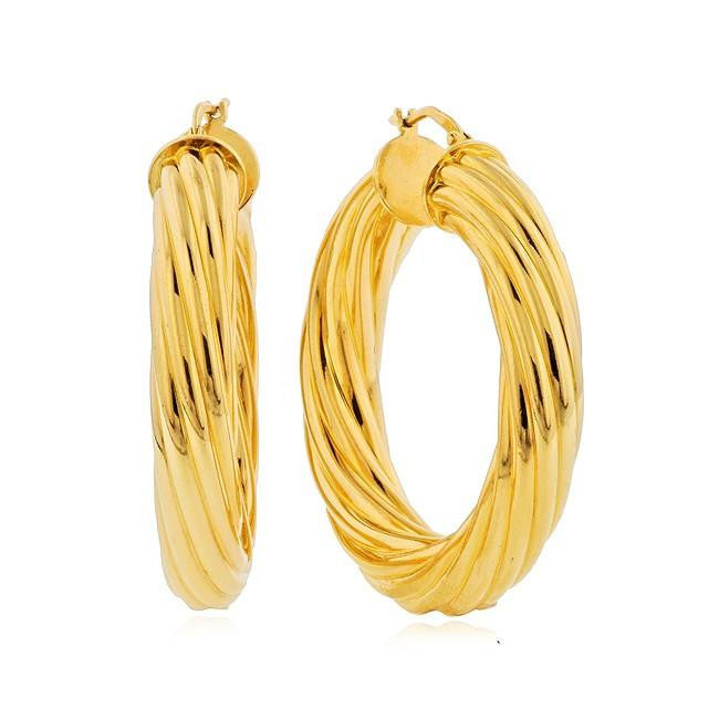 Grazie Italiana Collection: Gold-Plated Bronze Large Fluted Hoop Earrings