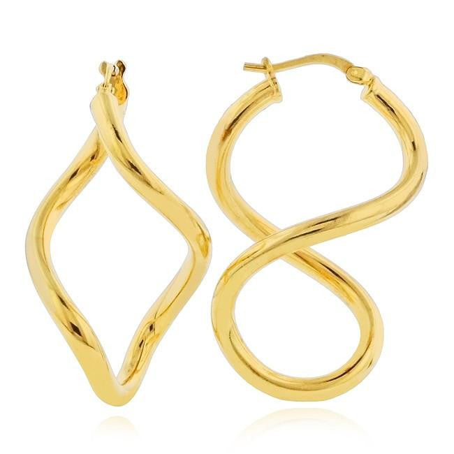 Grazie Italiana Collection: Gold-Plated Bronze Euclidean Infinity Hoop Earrings