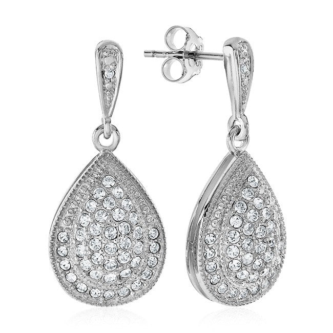 0.01 Carat Diamond & White Crystal Pear Shaped Earrings in Platinum-Plated Bronze