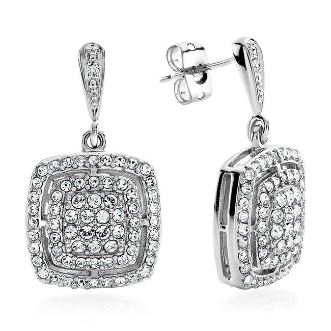 0.01 Carat Diamond & White Crystal Square Earrings in Platinum-Plated Bronze