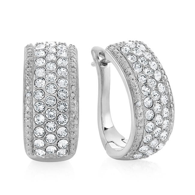 0.01 Carat Diamond and Swarovski Elements Hoop Earrings  in Platinum-Plated Bronze