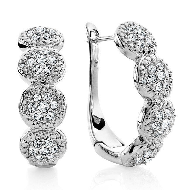 0.01 Carat Diamond and White Swarovski Element Circle Earrings in Platinum-Plated Bronze